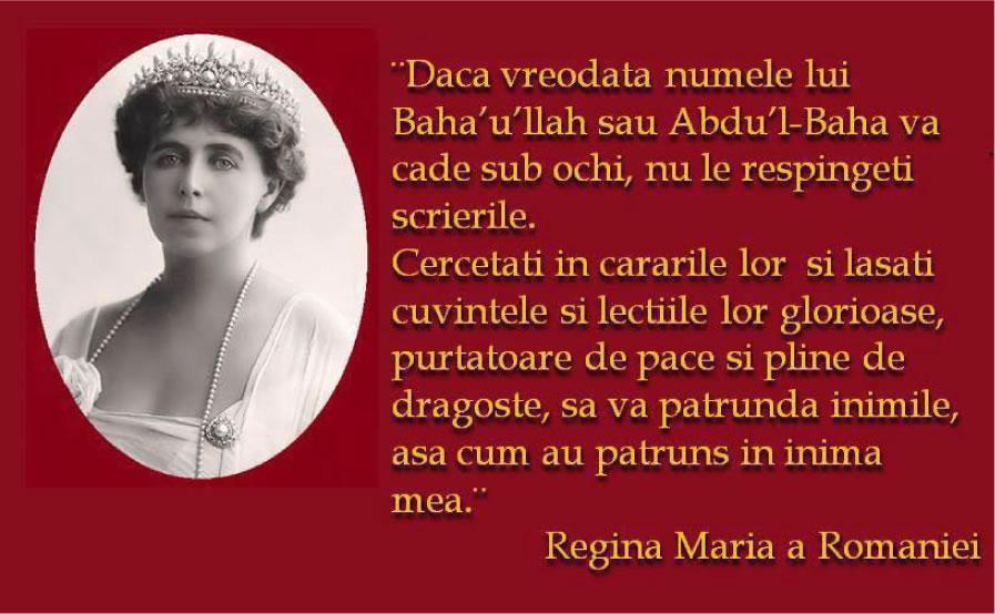 REGINA MARIA și Credința Baha'i